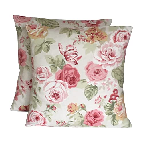 3dab2512e4b8 2 x SAGE GREEN CREAM BEIGE & PINK VINTAGE STYLE FLORAL PRINT CUSHION COVERS  ...