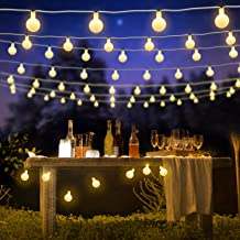 BlueFire Globe Fairy Light Battery Powered 22.9FT 50 LED Ball String Lights with Remote Control for Holiday Christmas New Year Wedding Party Gardens Lawns Patios Indoor & Outdoor Decoration (Warm White)