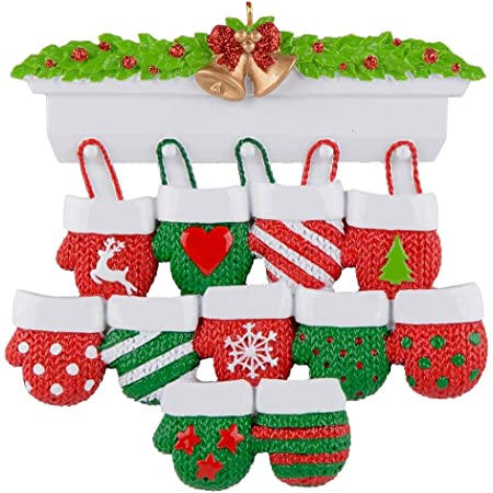 Christmas Tree Decorations Mitten Family Ornament (11 Gloves)