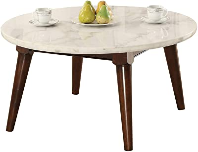 Benjara Benzara Wooden Coffee Table with Marble Top, Brown