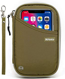 Travel Wallet RFID Blocking Document Organizer Bag, Family Passport Holder, 6 Army Green Small Handbag (Green) - C0003GRNS