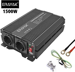 ERAYAK Inversor de Corriente 1500W (Pico 3000W) Transformador 12v 220v con Puerto USB con 2 AC Tomas y Encendedor Convertidor para Automóviles