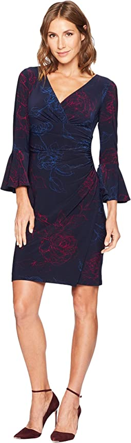 Joyous Floral Matte Jersey Elsietta 3/4 Sleeve Day Dress