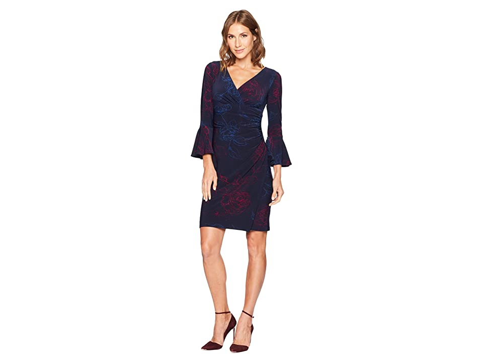 LAUREN Ralph Lauren Joyous Floral Matte Jersey Elsietta 3/4 Sleeve Day Dress (Lighthouse Navy/Berry/Porter Blue) Women
