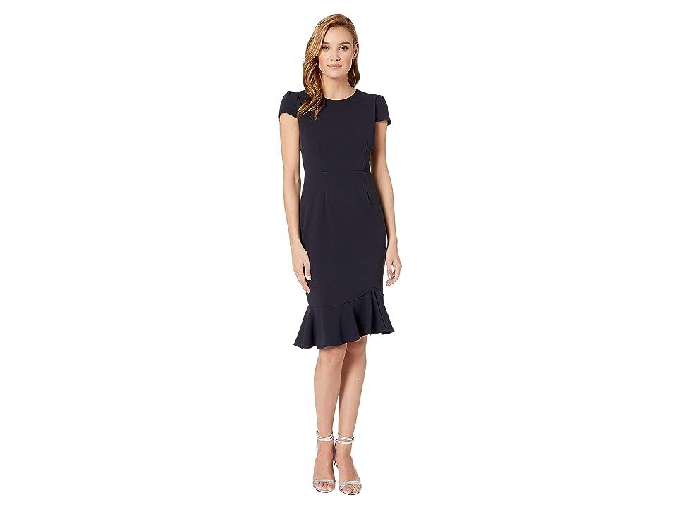 Betsey Johnson Scuba Crepe Dress w/ Flounce (Navy) Women