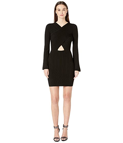 Cushnie Knit Mini Dress with Flare Sleeves and Crisscross