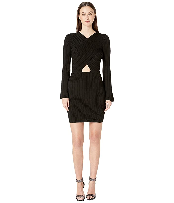 Cushnie Knit Mini Dress with Flare Sleeves and Crisscross (Black) Women