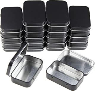 Goodma 20 Pieces Rectangular Metal Empty Hinged Tins Containers Basic Necessities Home Storage Organizer Mini Box Set, 3.75 x 2.45 x 0.8 inch (Black)
