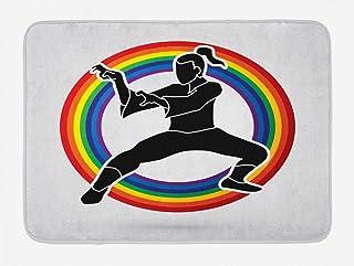カンフーバスマットは、東ボクシングスポーツ空手はレインボーラインサークル、滑り止めバッキングとぬいぐるみバスルームインテリアマット、40×60センチ、チャコールグレーマルチカラーの上にシルエットを提起しました [並行輸入品]