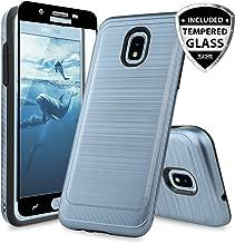 TJS Galaxy J7 2018/J7 Refine/J7 Star/J7 Eon/J7 TOP/J7 Aero/J7 Crown/J7 Aura/J7 V 2nd Gen Case, with [Full Coverage Tempered Glass Screen Protector] Phone Case Metallic Brush Finish Inner Layer (Blue)