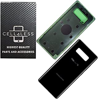 CELL4LESS CELL4LESS Midnight Black Galaxy Note 8 Compatible Back Glass Battery Door Cover Housing with Adhesive Replacemen...