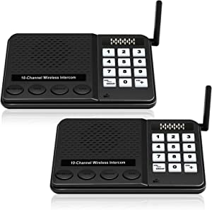 Intercoms Wireless for Home - Wireless Intercom System Long Range Room to Room House Intercom Wired Communication for Business Office Gate Police Church (2 Pack)