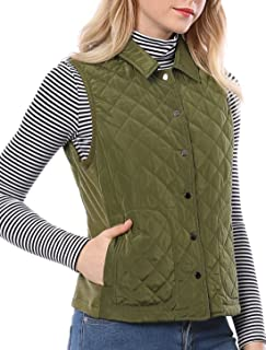Women's Single Breasted Pockets Puffer Lightweight Gilet Quilted Vest