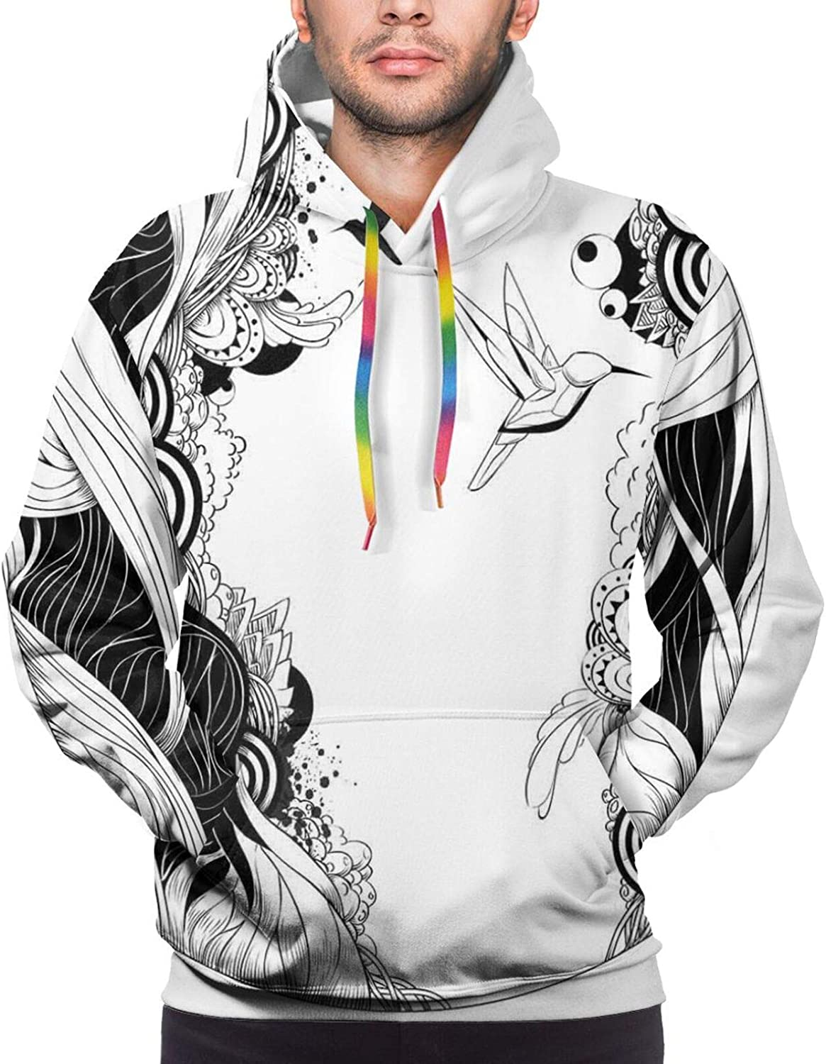 Men's Hoodies Sweatshirts,Monochrome Hipster Wild Cat with Old Motorcycle Equipment Vintage Style Pattern