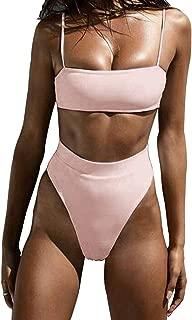 Macvise Women's 2 Pieces Cheeky High Waist Straps Bikini Set Push Up Swimsuit High Cut Printed Bathing Suit