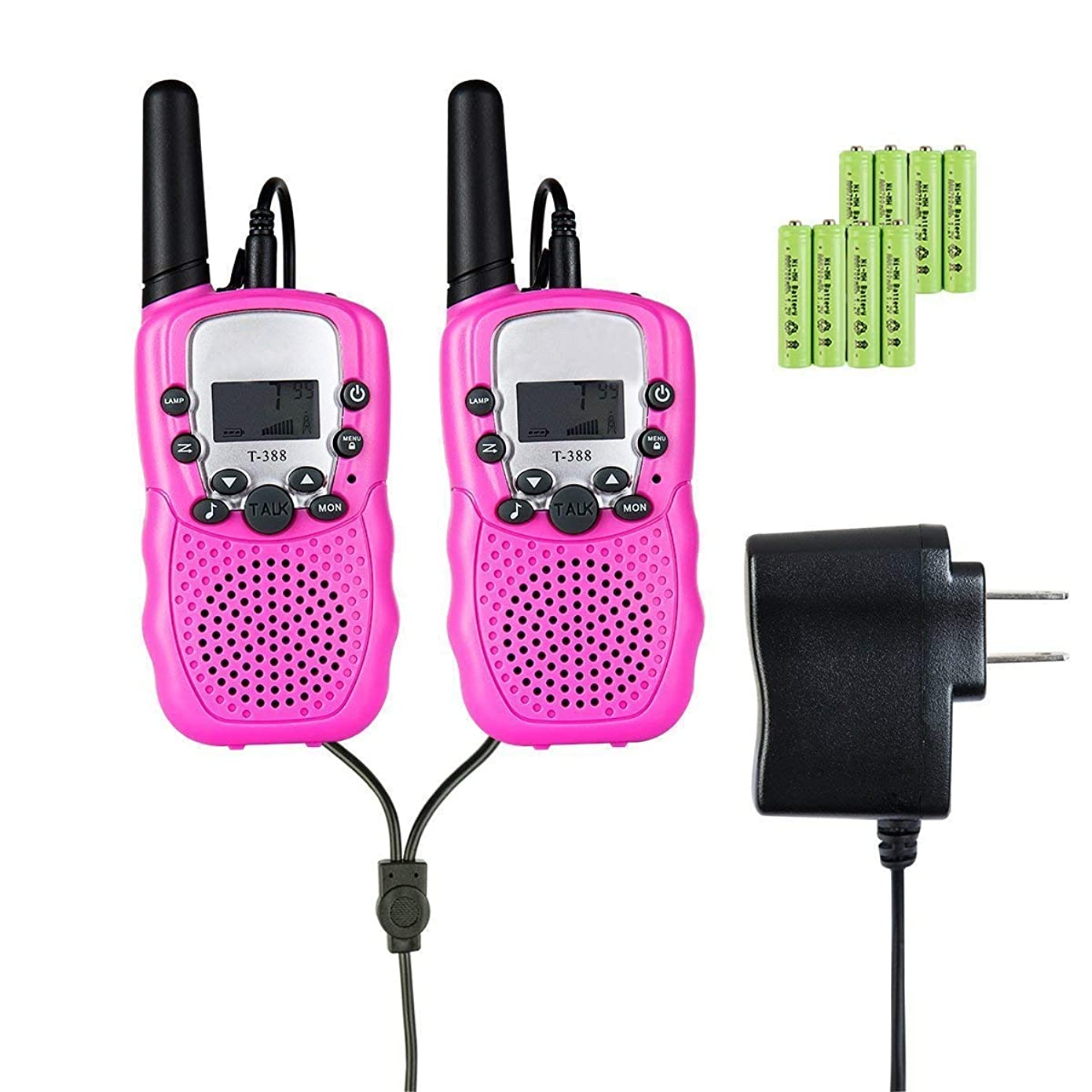 GZL Kids Walkie Talkies 22 Channel 0.5W FRS/GMRS 2 Way Radios with Charger and Rechargeable Batteries for Boys Girls Best Gifts Kids Toys with Built in Flashlight (Pink)