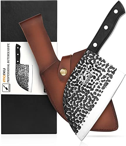 DamascusButcher Knife, imarku Handmade Serbian Chef Knife Full Tang Forged Kitchen Cleaver Knife High Carbon Clad Steel Meat Cleaver with Leather Knife Sheath - 7 inches