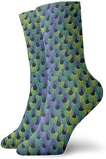 Kevin-Shop, Plumas Coloridas Calcetines clásicos de Punto Plano Casual Athletic Stoking Soft