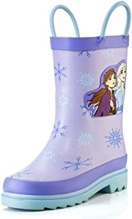 Disney Kids Girls' Frozen Anna and Elsa Character Printed Waterproof Easy-On Rubber Rain Boots (Toddler/Little Kids)