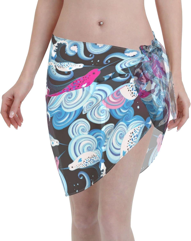 Reindeer Horn Women Short Beautiful Bright Ocean Sarongs Cover Ups Beach Chiffon Sarong Bikini Swimwear Black