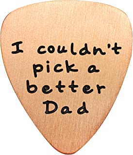 Fathers Day Gift Mens I couldn`t Pick a Better Dad Guitar Pick Custom Gift for Daddy Papa Stainless Steel (Rose Gold)
