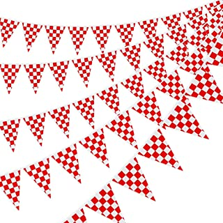 RUBFAC 170ft 120pcs Checkered Red and White Gingham Pennant Banner Checkered Flags for Picnic Birthday Party Decoration Supplies