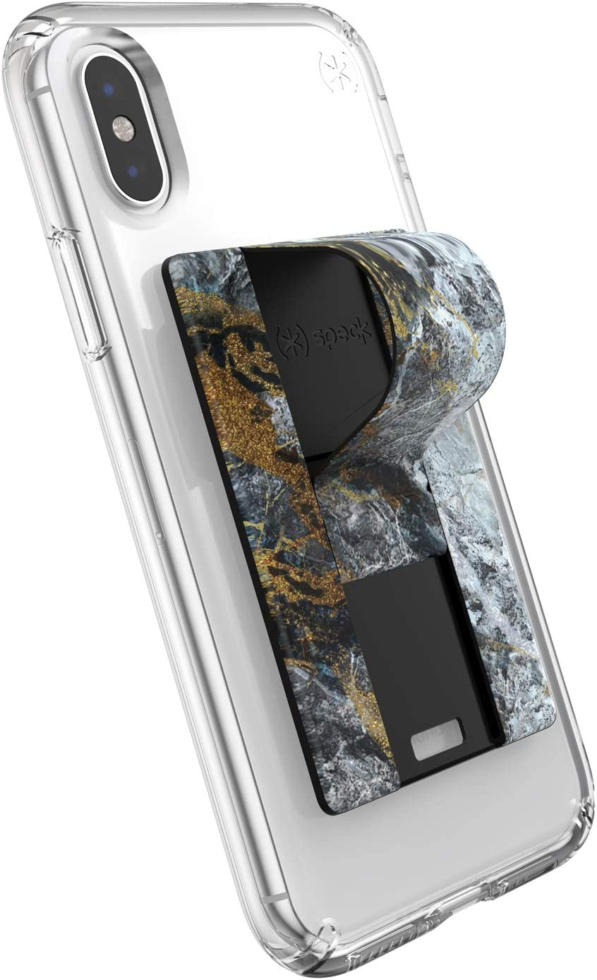 Cases Works With Most Cell Phones Speck Products GrabTab Cell Phone Holder and Stand ShatteredMarble Gold
