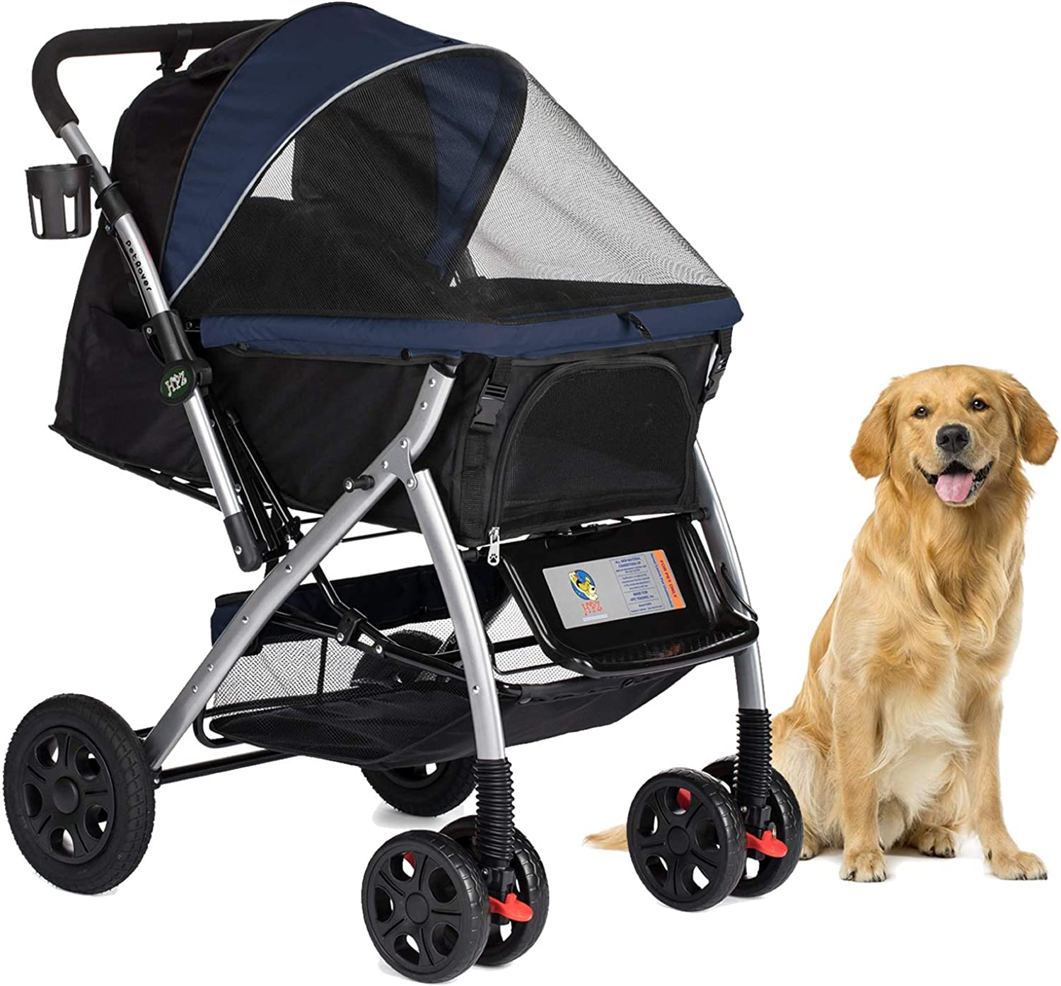 HPZ Pet Rover Premium Heavy Duty Dog Cat Pet Stroller Travel Carriage with Congreenible Compartment Zipperless Entry Reversible Handlebar PumpFree Rubber Tires for Small, Medium, Large Pets
