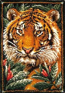 XUJINGJIE Kits De Crochet De Loquet Kits De Fabrication De Tapis À Motif De Tigre Arts Et Artisanat Tapis À La Main Broder...