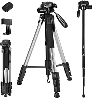 72-Inch Camera/Phone Tripod, Aluminum Tripod/Monopod Full Size for DSLR with 2 Quick Release Plates,Universal Phone Mount and Convenient Carrying Case Ideal for Travel and Work - MH1 Silver