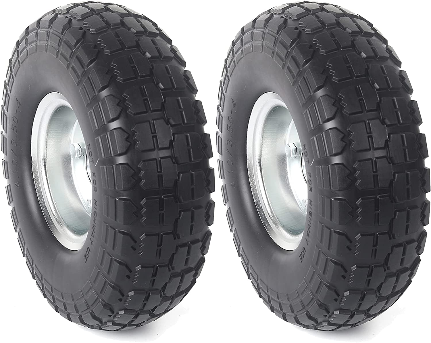 """AR-PRO (2-Pack) 10-Inch Solid Rubber Tires and Wheels - Replacement 4.10/3.50-4"""" Tires and Wheels with 5/8"""" Axle Bore Hole, and Double Sealed Bearings - Perfect for Gorilla Carts"""
