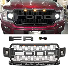 Haitzu Front Grill Fit for Ford Edge 2015-2018 with Replaceable Letters Matte Black