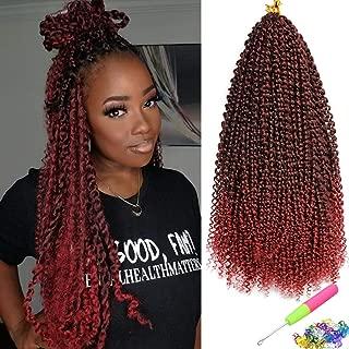 6 Packs Passion Twist Hair 18 Inch Bohemian Curl Passion Twist Crochet Braiding Hair Water Wave Synthetic Braids for Passion Twist Crochet Hair (22strands/pack, Tbug#)
