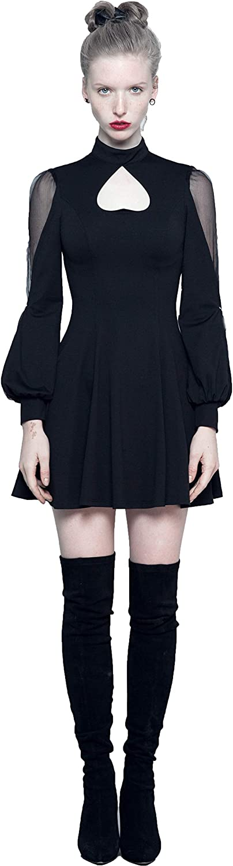 Punk Pave Women Black Gothic Vintage Heart Shape Daily Wear Short Dress