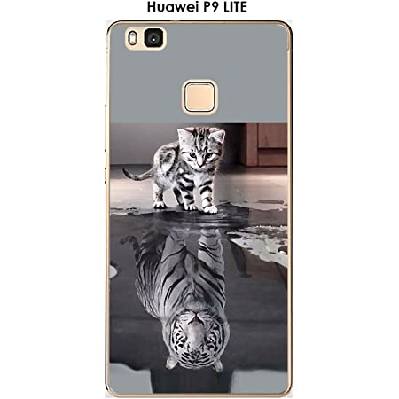 Onozo Coque Huawei P9 Lite Design Chat Tigre Blanc