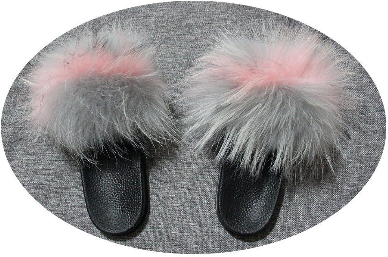Qmfur Women Real Raccoon Slippers Fur Slides Open Toe Single Strap Slip On Sandals