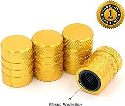 Tire Valve Stem Caps, Yellow, 4 pcs/Pack, Anodized Aluminum Tire Valve Cap Set, Corrosion Resistant, Universal Stem Covers for Trucks Motorcycles and Bikes
