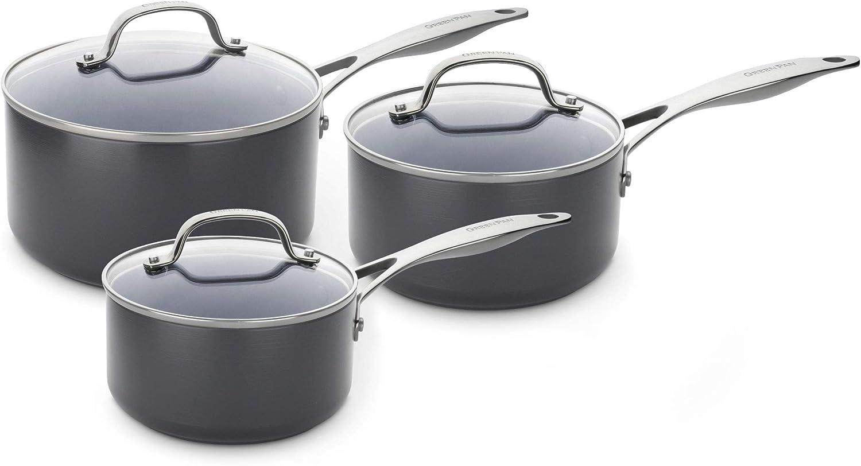 GreenPan Saucepan Set, Non Stick Toxin Free Ceramic Sauce Pots - Induction & Oven Safe Cookware - 16/18/20 cm, 3 pcs, Grey