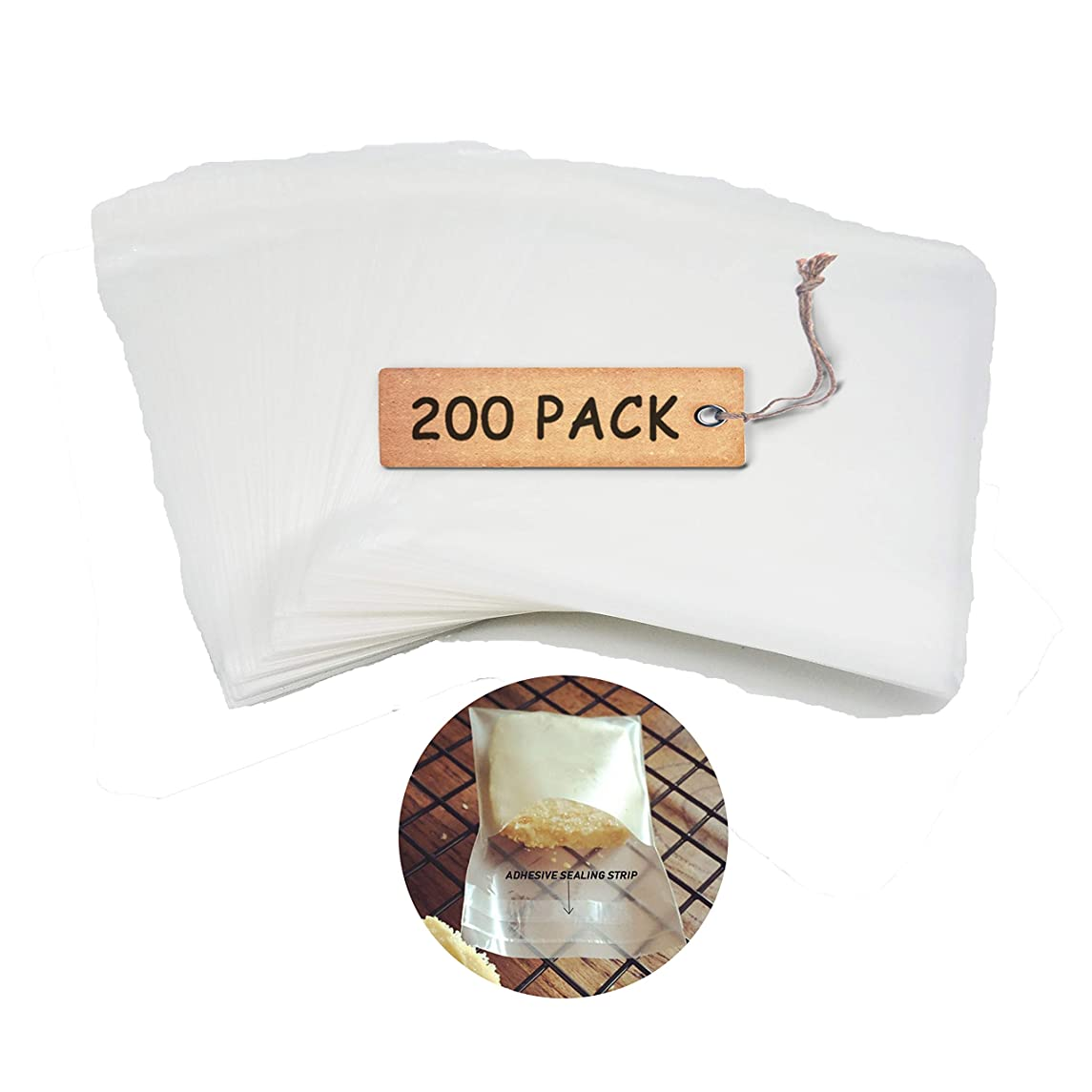 SCHOLMART 200 pcs Adhesive Treat Bags Clear Cello Cellophane Wrap Self Sealing OPP Plastic Packaging Bags for Bakery Cookies Candy Bread Chocolate Jelly (2 x 2 inch)