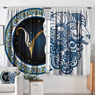 Mozenou Zodiac Room Darkening Curtains Astrological Aries Symbol with Horned Head Ram Goat Animal Terrestrial Event Image Thermal Blackout Curtains 55