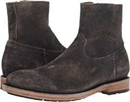 Faded Black Distressed Oiled Suede