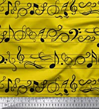Soimoi Yellow Cotton Poplin Fabric Notes Musical Instrument Print Fabric by The Yard 42 Inch Wide