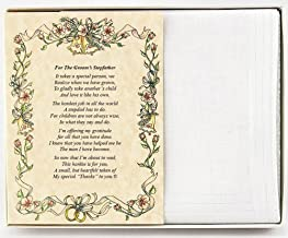 Wedding Handkerchief Poetry Hankie (For Groom's Stepfather) White, Wedding Keepsake, Beautiful Poem | Long-Lasting Memento for the Groom's Stepdad | Includes Gift Storage Box