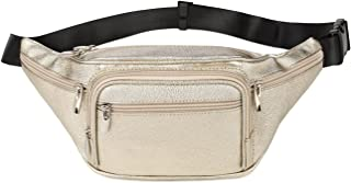 Fashion Pearl Pattern Faux Leather 6 Pockets Fanny Pack Waist Pack -GOLD