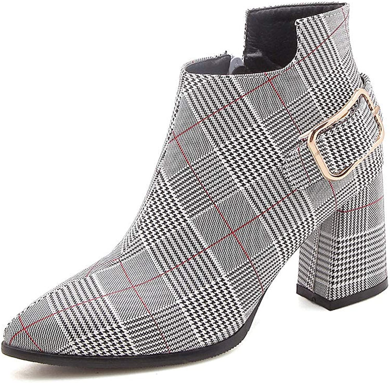 Plaid High Heel Ankle Boots, Pointed Large Size Thick with Low Boots Side Zipper Martin Boots Belt Buckle Non-Slip Waterproof Platform Short Boots Women's shoes