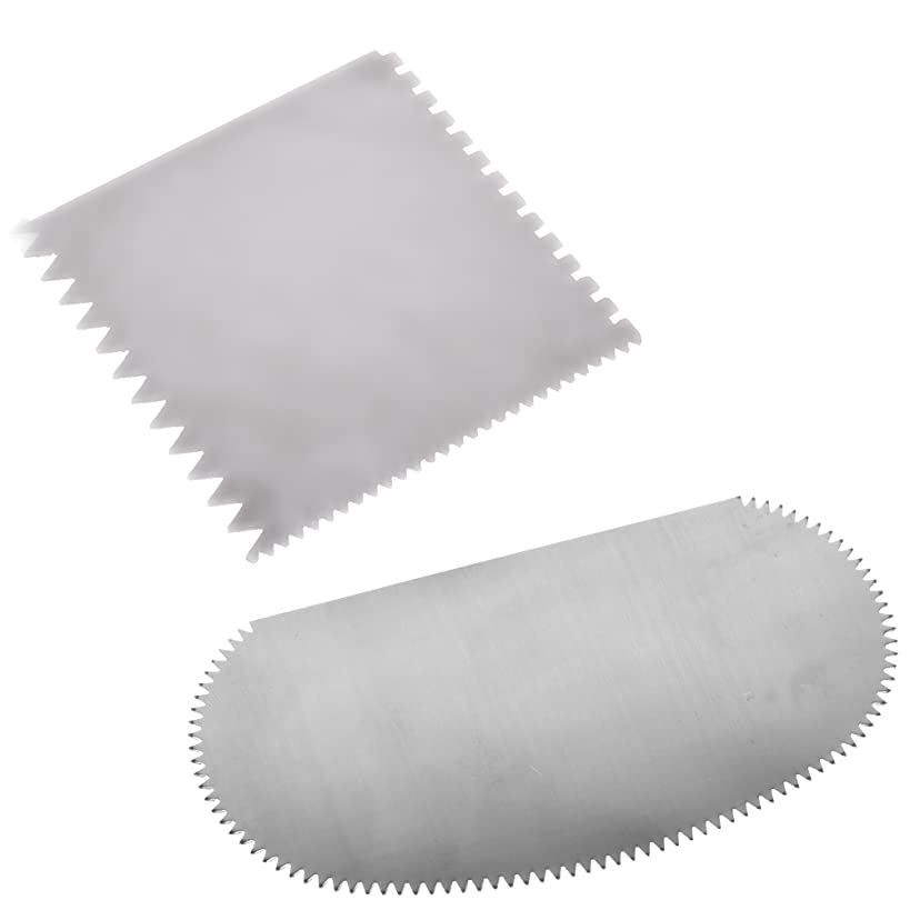 BCP Set of 2 Stainless Steel Serrated Scraper Crafts Tool for Sculpture Ceramic