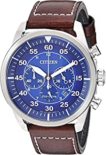 Citizen Eco-Drive Avion Chronograph Mens Watch, Stainless Steel with Leather strap, Weekender, Brown (Model: CA4210-41M)