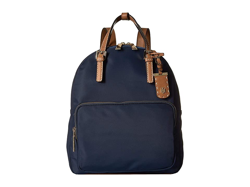 Tommy Hilfiger Julia Double Handle Solid Nylon Backpack (Tommy Navy) Backpack Bags