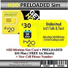 H2o Wireless Sim Card + Preloaded $30 Plan (Free 1st Month)