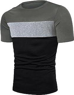 Fanient Unisex T-Shirt Summer Patchwork Tee Color Block Short Sleeve Tops Blouse Shirt Sport Casual Tops for Men Women, Si...